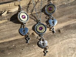Bullet Necklace & Earrings Brass 45s Heart & Key Charm Choice of Crystal S-623
