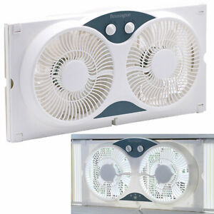 Dual Blade 9-Inch Twin Window Fan 3-Setting Airflow Control Auto-Locking, White