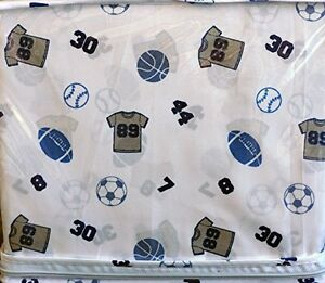 Authentic Kids 3 Piece Twin Sheet Set Sports Gray Shirts Balls Numbers on Whit
