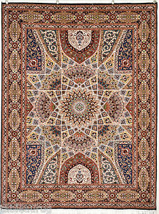 Magnificent Royal Gonbad Design Persian Rug 5x7 feet silk base