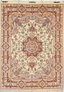 Beautiful Rezaei design 5x7 feet Persian Hand Woven Rug Silk Base 50 Raj