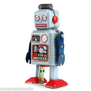 wind up walking radar robot tin toy retro