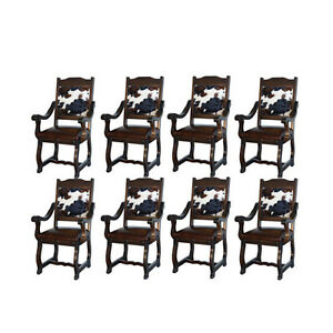 Eight Rustic Gran Hacienda Hide Arm Chairs Solid Wood Lodge Old World