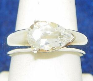 WHITE TOPAZ SOLITAIRE RING SOLID .925 STERLING SILVER 6.0 g SIZE 9