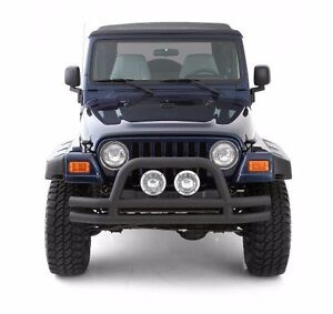 Smittybilt Black Tubular Front Bumper With Hoop For 1976-2006 Jeep CJ