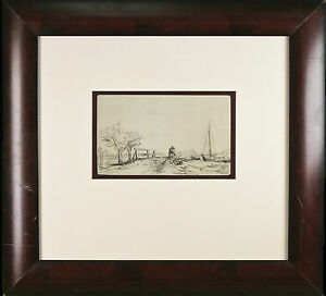 quot;Six#x27;s Bridgequot; Rembrandt Restrike Etching Signed in Plate Framed 18quot;x19quot; $656.25