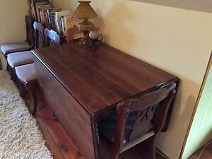 Dining Room Table and Chairs Antique Cherry Wood