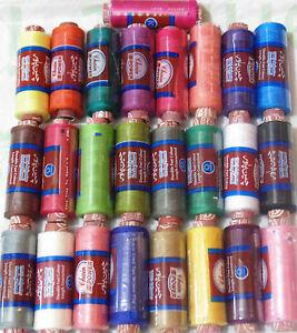25 x New 100% Polyester Sewing Thread Spools 25 Different Colours Good Quality GBP 3.97