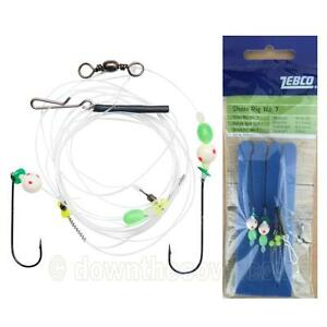 Zebco Shore Rig 7 2 x Hook Size 1 0 UV Active Surf Fishing Tackle Fast Post