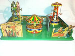 carnival mechanical wind up tin toy 1930s works