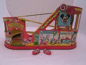 rare working 1940 1950 j disney tin windup roller