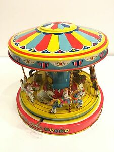 vintage chein tin wind up play land merry go