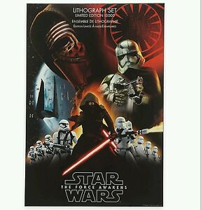 Disney Store Limited Edition Star Wars The Force Awaken 7 Print Lithograph Set