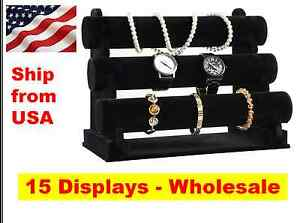 WHOLESALE 3 Bar Tier Black Velvet Jewelry Bracelet Watch Holder Display Stand