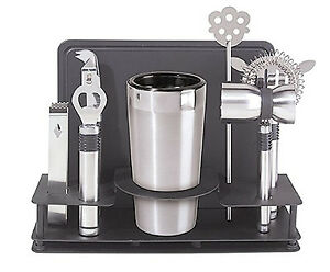 10-Piece Professional Cocktail Shaker Bar Tool Set Stainless Steel Pro Kit New