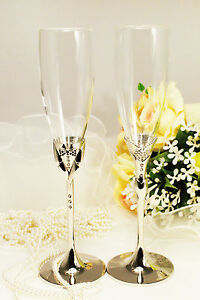 Personalized Wedding Toasting Flutes Champagne Glasses Sets Bride
