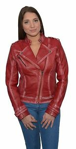 Ladies Sheepskin Asymmetrical RED Leather Moto Jacket w Studded Accents