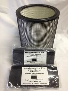 Filter Queen Air Purifier Defender HEPA 3000 Cart. and 2 Carbon Wraps Bundle
