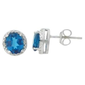 2 Ct London Blue Topaz & Diamond Round Stud Earrings White Gold Silver