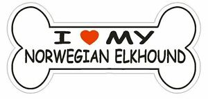 Love My Norwegian Elkhound Bumper Sticker or Helmet Sticker D2493 Dog Bone Decal