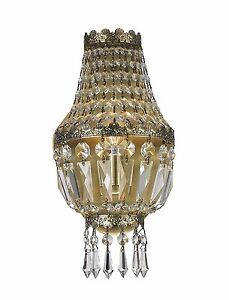 1 Light Antique Bronze Finish 6quot; x 12quot; Frigg Crystal Wall Sconce Light $74.80