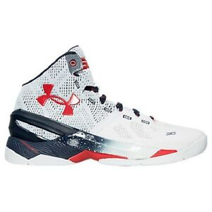 UNDER ARMOUR Men's Curry 2 Basketball Shoes Sneakers White Red Blue Navy 1259007