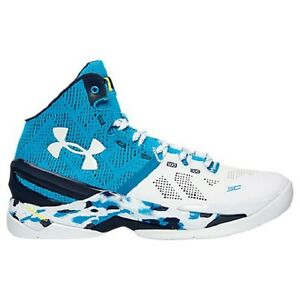 UNDER ARMOUR UA Men's Curry 2 Basketball Shoes Sneakers White Blue Navy 1259007