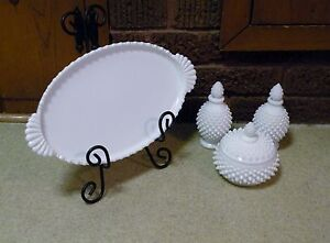 FENTON HOBNAIL - White Milk Glass VANITY SET  Tray 2 Perfumes Powder
