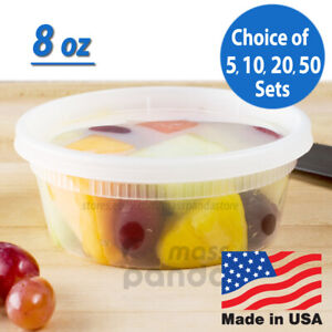8 oz Heavy Duty Small Round Deli Food Soup Plastic Containers w Lids BPA free $24.95