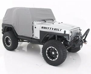 Smittybilt Custom Fit Gray Cab Cover With Door Flaps For 1992-2006 Jeep Wrangler
