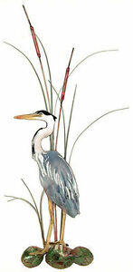 Great Blue Heron Bird with Cattails Wall Art Decor Sculpture by Bovano #W363L