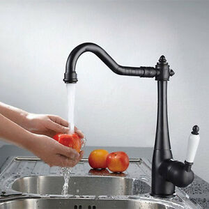 Black Oil Rubbed Bronze Ceramic Handle Swivel Spout Mixer Kitchen Sink Faucet