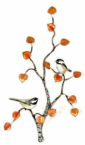 Chickadee Pair On Aspen Metal Bird Wall Art Sculpture by Bovano of Cheshire W553