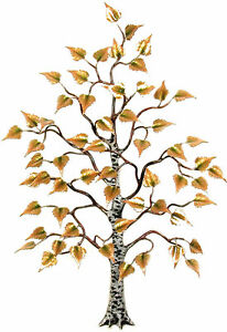 Birch Tree w Enameled Leaves Metal Wall Art Sculpture- Bovano of Cheshire W101 $650.00