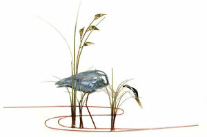 Single Heron Facing Right Metal Bird Wall Art Sculpture- Bovano of Cheshire W373