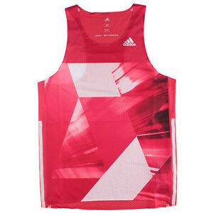adidas 2016 Men's adizero Singlet Sleeveless Training Shirts PinkWhite S93579