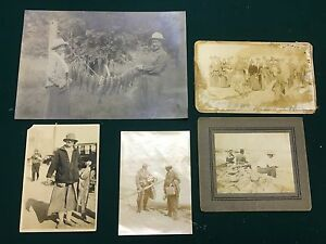 5 ANTIQUE PHOTOGRAPHS  OF FISHING  SHARKS 1800s-1900s Sporting tackle rods Bass