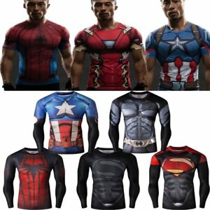 Men's 3D Compression Super Hero Tee T-shirts Long Sleeve Marvel Sports Clothing