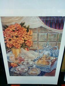K. Haines Dench Signed Numbered Roses & Tea Set Lithograph Print #139#400.