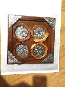 ELEGANT WOODEN HAND MADE TRAY SAUCERS METAL/PEWTER ELEPHANT DESIGN FROM THAILAND