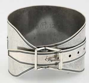 Mason Martin Margiela Silver-Plated Adjustable Buckle Bracelet 8