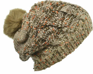 Aprileo Knitted Beanie Fleece Lined Faux Fur Pompom Hat Warmth