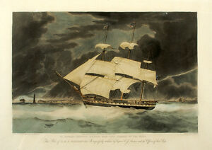 1830 Hand-Colored Engraving H.M.S. Winchester by E. Duncan London