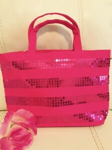 Victoria#x27;s Secret Signature Striped Pink Purse Tote SPARKLY BLING Shopped Bag