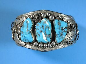 Vintage Native American Navajo Signed N Sterling Silver Turquoise Cuff Bracelet