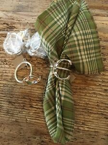 Initial Monogram Silver Tone Napkin Ring C Set 4 Dress Your Table Letter C New