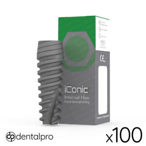 100 x iConic® Conical Dental Implant Sterile Implants Internal Hex SLA Anodized