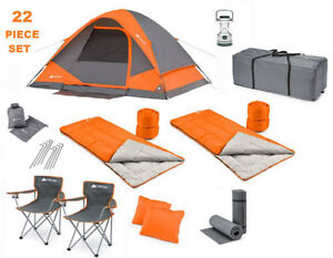 Camping combo set for 4 including  stakes 2 sleeping bags gear loft and more