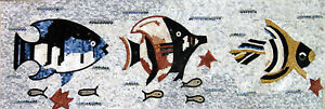Multicolor Three Fish Design Border Design Tile Stone Marble Mosaic AN580