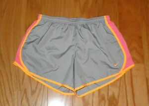 Nike Girls Dri Fit Running Shorts Size XL Athletic Gray Pink Orange Tempo Youth
